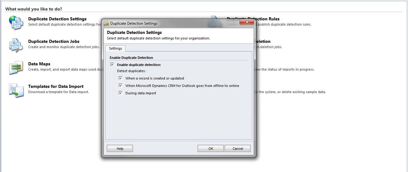 Database cleansing through Duplication Detection in Dynamics CRM